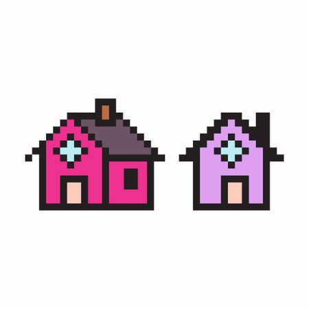 Pixel art house. Vector 8 bit game web icon set isolated on white background. Illustration