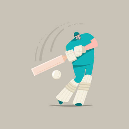 Cricket player with bat and ball. Vector cartoon flat character of a man playing in sports game isolated on a background. Ilustrace