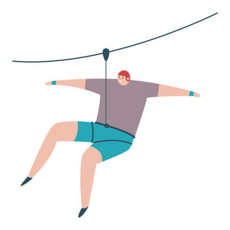Ziplining outdoor sports illustration. Vector cartoon flat character of man descending on a rope isolated on a white background.
