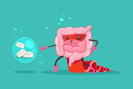 Funny Intestine in superhero costume and mask with a clothes. Cute gut with pills vector cartoon flat character illustration isolated on background.