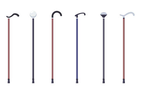 Wooden cane stick vector flat simple set isolated on white background.