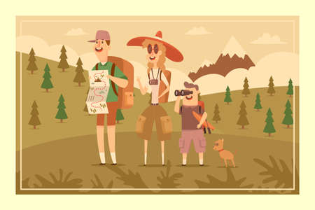 Family hiking adventure. Dad with map, mother with camera, son with binoculars and kayak and cute dog. Vector cartoon flat illustration of people on a landscape with a mountain.