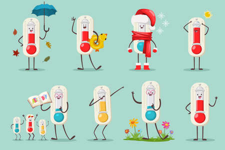 Cute Thermometer in Santa hat, inflatable duck ring, alphabet book and kids, umbrella and autumn leaves, flowers and dabbing pose. Vector cartoon flat temperature character set isolated on background. Stock Illustratie