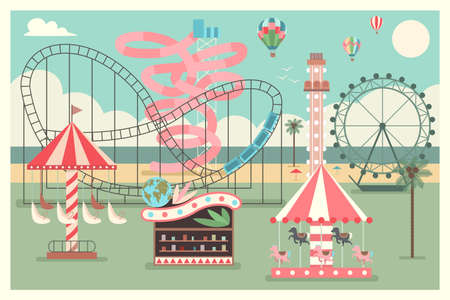 Amusement park on the beach with kid carousel, ferris wheel, water slides and balloons. Vector flat summer illustration. Reklamní fotografie - 166750159