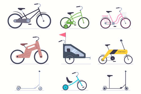 Kid bicycles, kick scooter, carts, electro and wood bike for boys and girls. Vector flat simple icons set isolated on a white background. Reklamní fotografie - 166672054