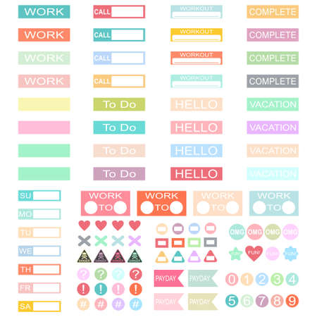 Design work planner stickers headers. Vector set of label template for schedule, organiser and calendars isolated on white background. Ilustrace