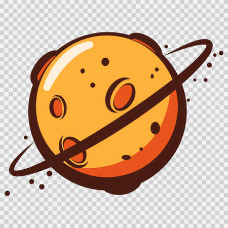 Cartoon planet vector icon isolated on a transparent background. Stock Illustratie