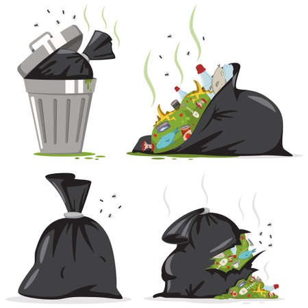Trash can and black bag with plastic and food waste. Garbage vector cartoon set isolated on white background. Ilustrace