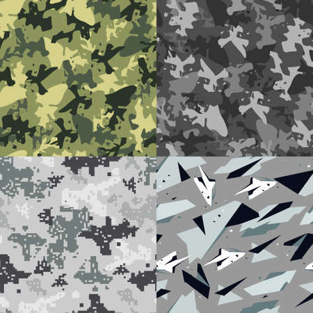 Army camouflage vector seamless pattern. Military texture set for cloth, wallpaper, wrapping, packing, backdrop.