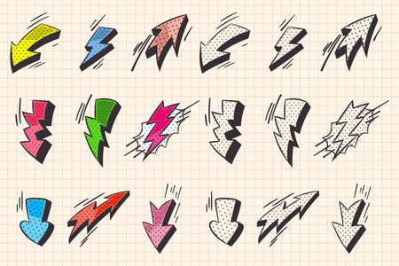 Arrow and lightning flash comic book and doodle style elements. Vector cartoon icons set isolated on a notebook page background. Reklamní fotografie - 166750195