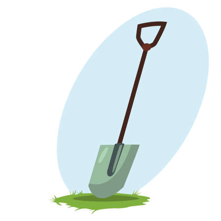 Spade or shovel icon. Garden tools and supplies for soil treatment. Vector cartoon illustration isolated on white background. Stock Illustratie