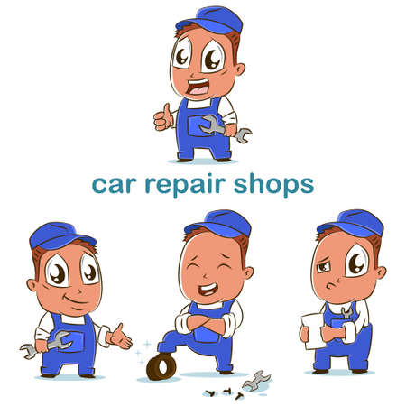 Car repair shop vector set of auto car mechanics in different poses. Cartoon character of workman for design. Ilustrace