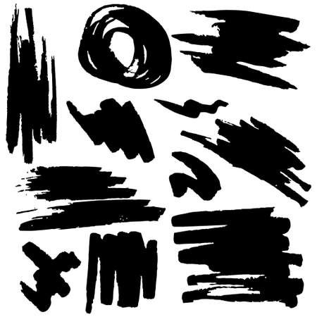 Black grunge black brush strokes. Hand-drawn background. Modern ink elements for your design.