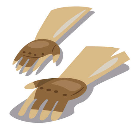 Leather gardening gloves icon. Vector cartoon illustration isolated on a white background.