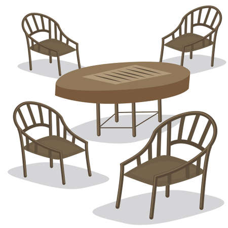 Teak furniture table and chairs for garden. Vector cartoon illustration isolated on a white background.