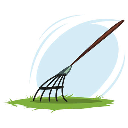 Leaf rake. Garden tools and supplies for soil treatment. Vector cartoon illustration isolated on white background.