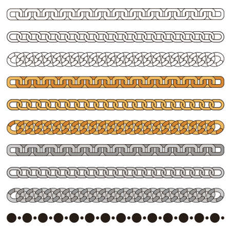 Chains simple vector set: gold, silver, metal and outline. Fashion design element isolated on white background.