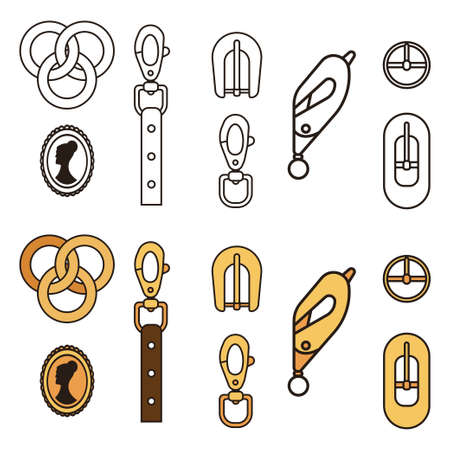 Carabiner buckles for tourism, belts, chains, necklaces and bracelets. Vector cartoon flat icons set isolated on white background.