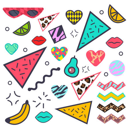 80s, 90s fashion design elements: avocado, lips, sunglasess, animal skin pattern, limon, heart and banana, geometric figures. Vector cartoon set isolated on a white background.