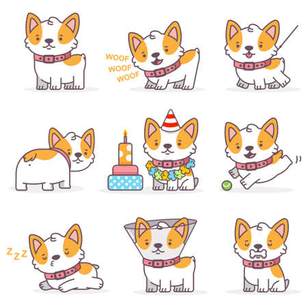 Corgi cute cartoon dog vector character set. Funny little puppies isolated on a white background. Pets illustration in different actions. Stock Illustratie
