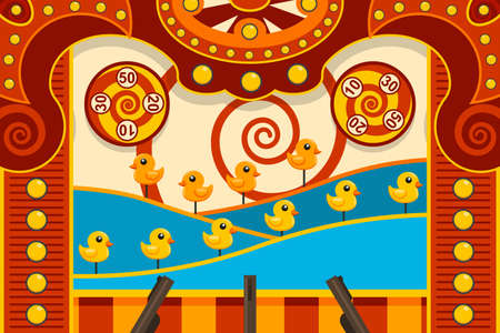 Carnival shooting arcade game with duck and gun. Vector cartoon illustration.