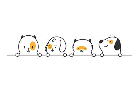 Funny cats and dogs heads in a row. Vector cartoon cute pets border isolated on white background.