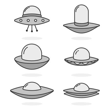 UFO vector simple icons set isolated on white background.