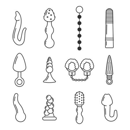 Sex toys vector simple linear icons set isolated on white background. Stock Illustratie