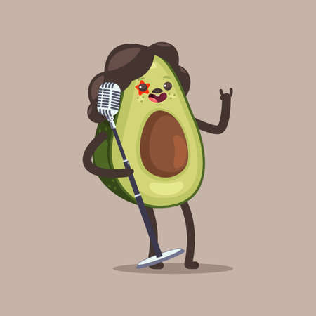 Avocado rock star vector cartoon funny fruit character with microphone isolated on background.