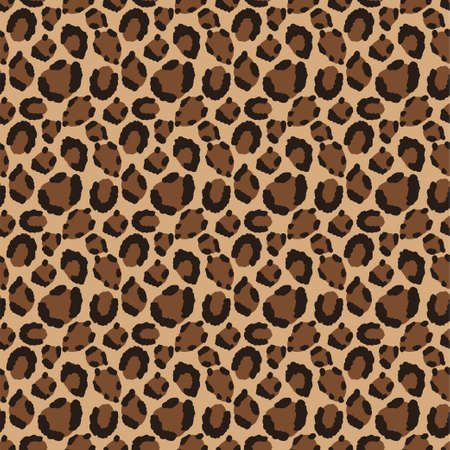 Leopard skin vector cartoon seamless pattern.