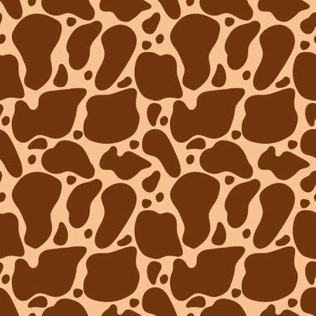 Giraffe skin vector cartoon seamless pattern.