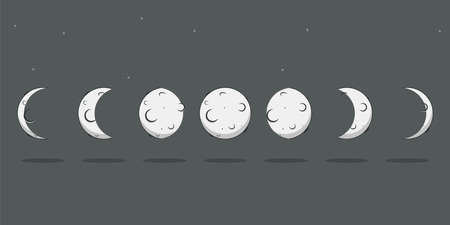 Moon phases vector cartoon flat lunar cycle icons isolated on a starry sky background.