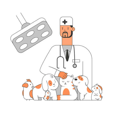 Veterinary clinic vector cartoon illustration of a doctor with pets: puppy, cat, dog, parrot, rabbit and hamster. Concept illustration isolated on white background.