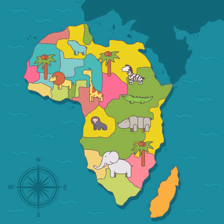 African continent with wild animals. Vector cartoon flat illustration of map with compass.