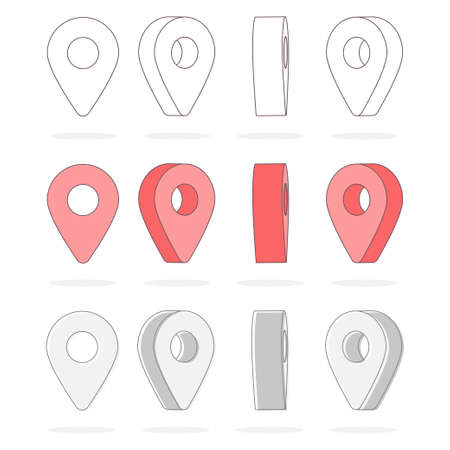 Map pointer vector 3D flat icons set isolated on a white background.