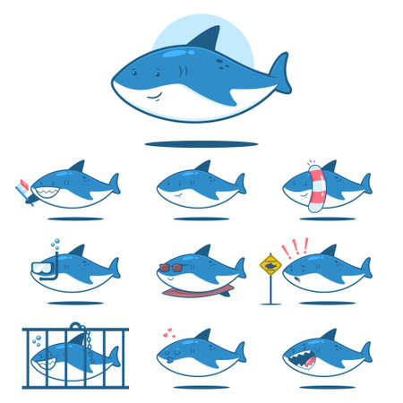 Cute cartoon shark with different emotions. Funny fish vector character set isolated on a white background.
