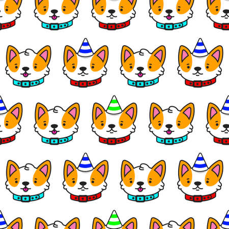Corgi head vector cartoon seamless pattern. Cute dog background for wallpaper, wrapping, packing and backdrop.