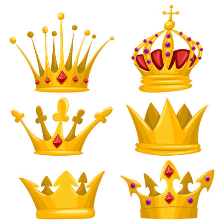 Gold crown for king, queen, princess and prince vector cartoon set. Royal attributes icons collection isolated on white background. Stock Illustratie