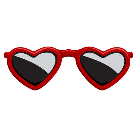Fashion sunglasses in a red plastic frame heart shape. Vector cartoon icon isolated on a white background.