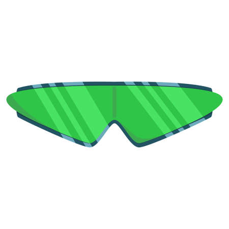 Sunglasses in fashionable frame with green glass. Vector cartoon icon isolated on a white background. Stock Illustratie