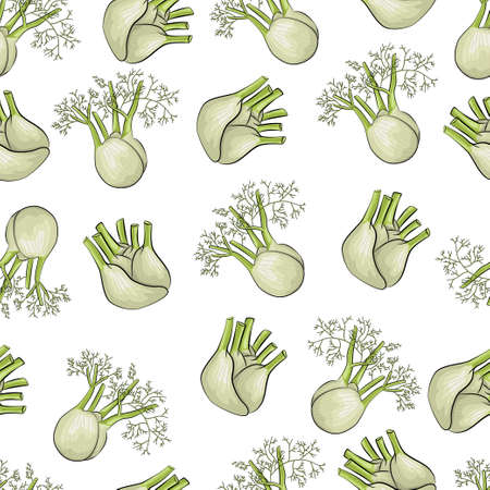 Fennel vector seamless pattern on a white background for packing, wrapping, labels and backdrop. Vegetables texture. Stock Illustratie