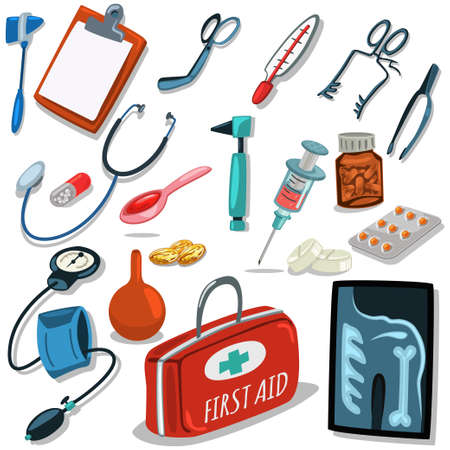 Doctor's tools. Medical surgical equipment: stethoscope, syringe, otoscope, blood pressure meter, first aid suitcase, pills and tablets. Vector set of icons isolated on white background.