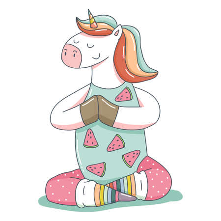 Cute unicorn in yoga poses vector cartoon animal character isolated on a white background.