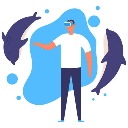 Virtual reality vector concept illustration with a man with glasses and dolphins.