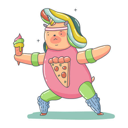 Cute unicorn bear with ice cream doing fitness exerssise vector cartoon animal character isolated on a white background.