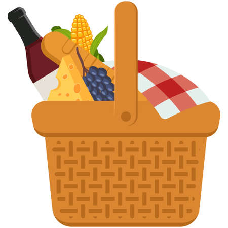 Picnic basket with food. Vector cartoon illustration isolated on a white background.