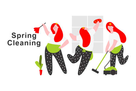 Spring cleaning vector cartoon concept illustration with woman character isolated on a white background.