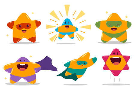 Cute star in superhero costume vector cartoon characters set isolated on a white background. Stock Illustratie