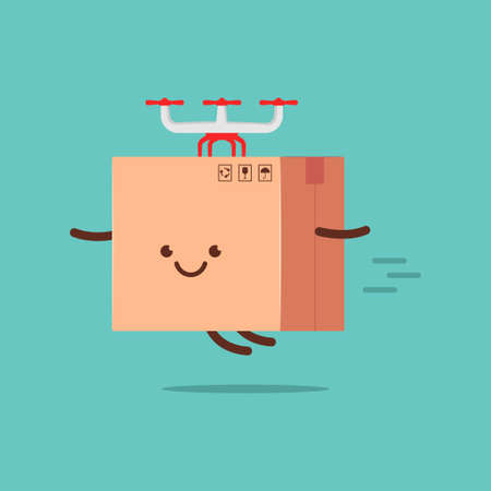 Cute delivery box with drone quadcopter vector cartoon character isolated on background.