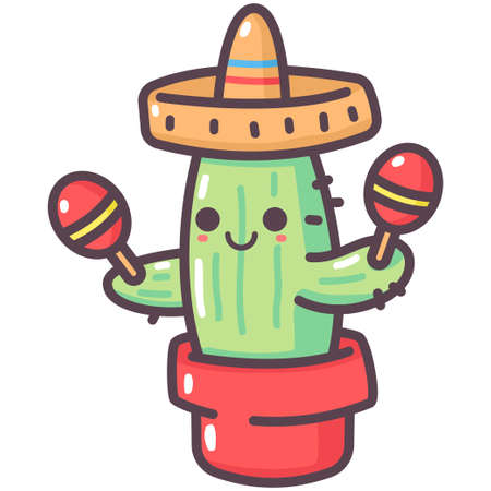 Cute cactus in mexican hat and maracas vector cartoon character isolated on a white background.
